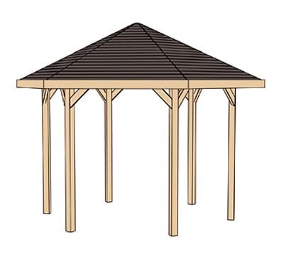 Weka Gartenlaube 656 Gr.1 Pavillon kdi 326x376cm Bild 3