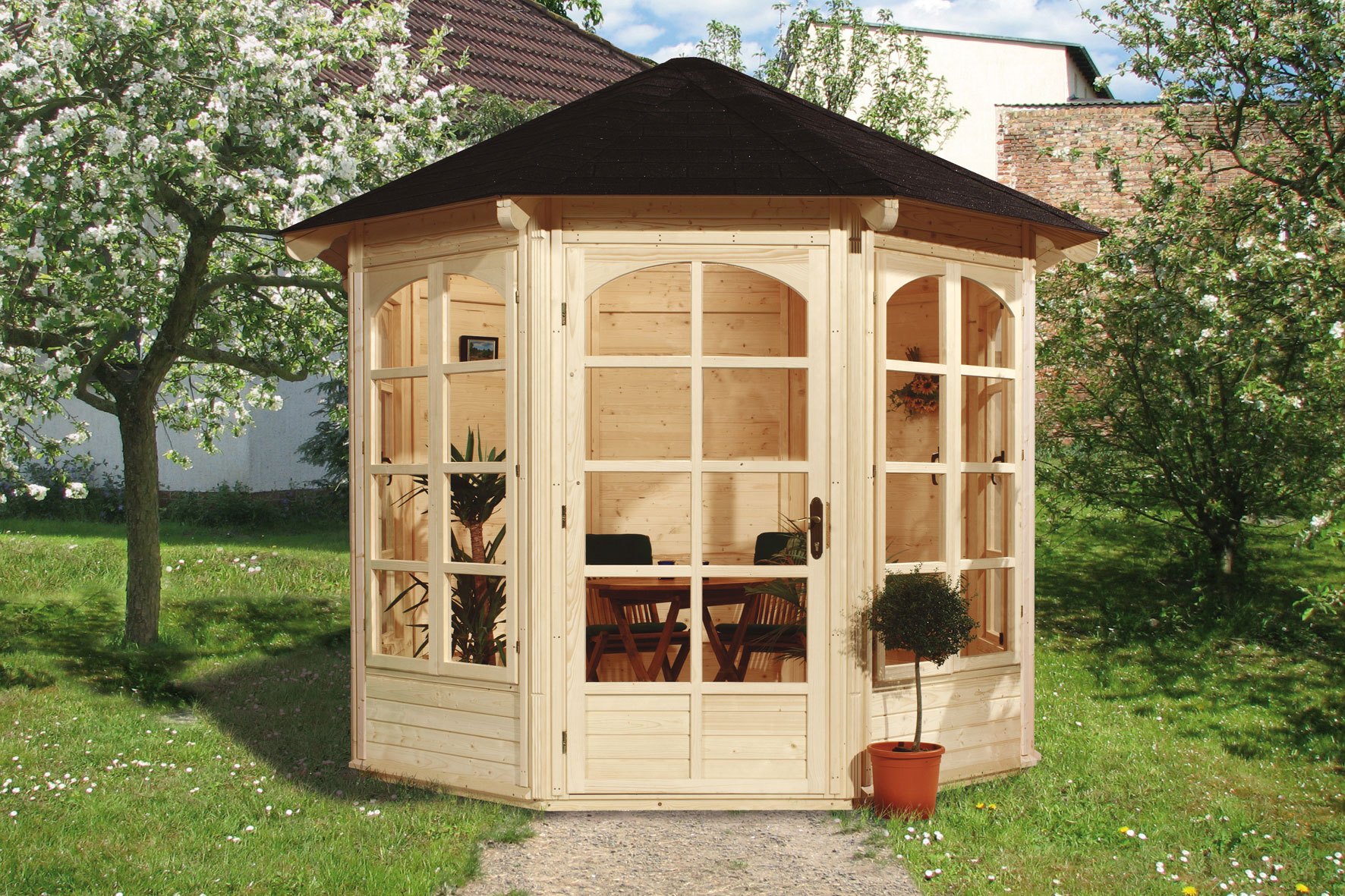 weka gartenlaube pavillon 234a natur 336x365cm 4 fenster. Black Bedroom Furniture Sets. Home Design Ideas
