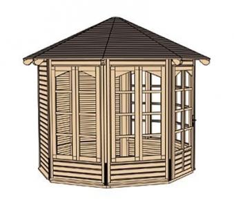 Weka Gartenlaube / Pavillon 234A natur 336x365cm 4 Fenster Bild 3