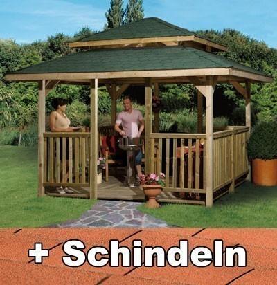Weka Holzpavillon 19 mm Paradies 4 kdi 380x380cm mit Schindeln Bild 1