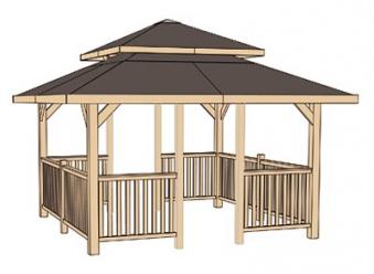 Weka Holzpavillon 19 mm Paradies 4 kdi 380x380cm mit Schindeln Bild 3