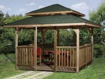Weka Holzpavillon 19 mm Paradies 4 kdi 380x380cm mit Schindeln Bild 4