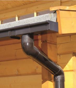 Dachrinne Set RG70 241B Spitzdach bis 3m PVC Halter Kasten braun
