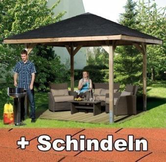 Weka Holzpavillon Gartenoase 651 Gr.3 kdi 380x380 mit Dachschindeln Bild 1