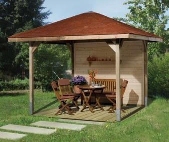 Weka Holzpavillon Gartenoase 651 Gr.3 kdi 380x380 mit Dachschindeln Bild 4