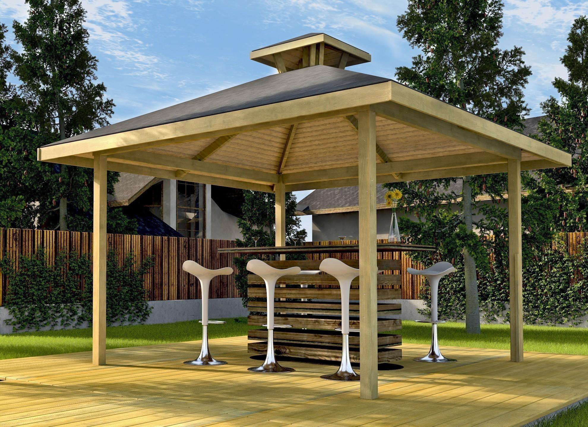 Weka Holzpavillon Gartenoase 651 Gr.3 mit Dachaufsatz kdi 380x380cm Bild 2