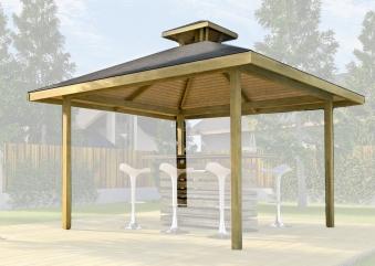Weka Holzpavillon Gartenoase 651 Gr.3 mit Dachaufsatz kdi 380x380cm Bild 1