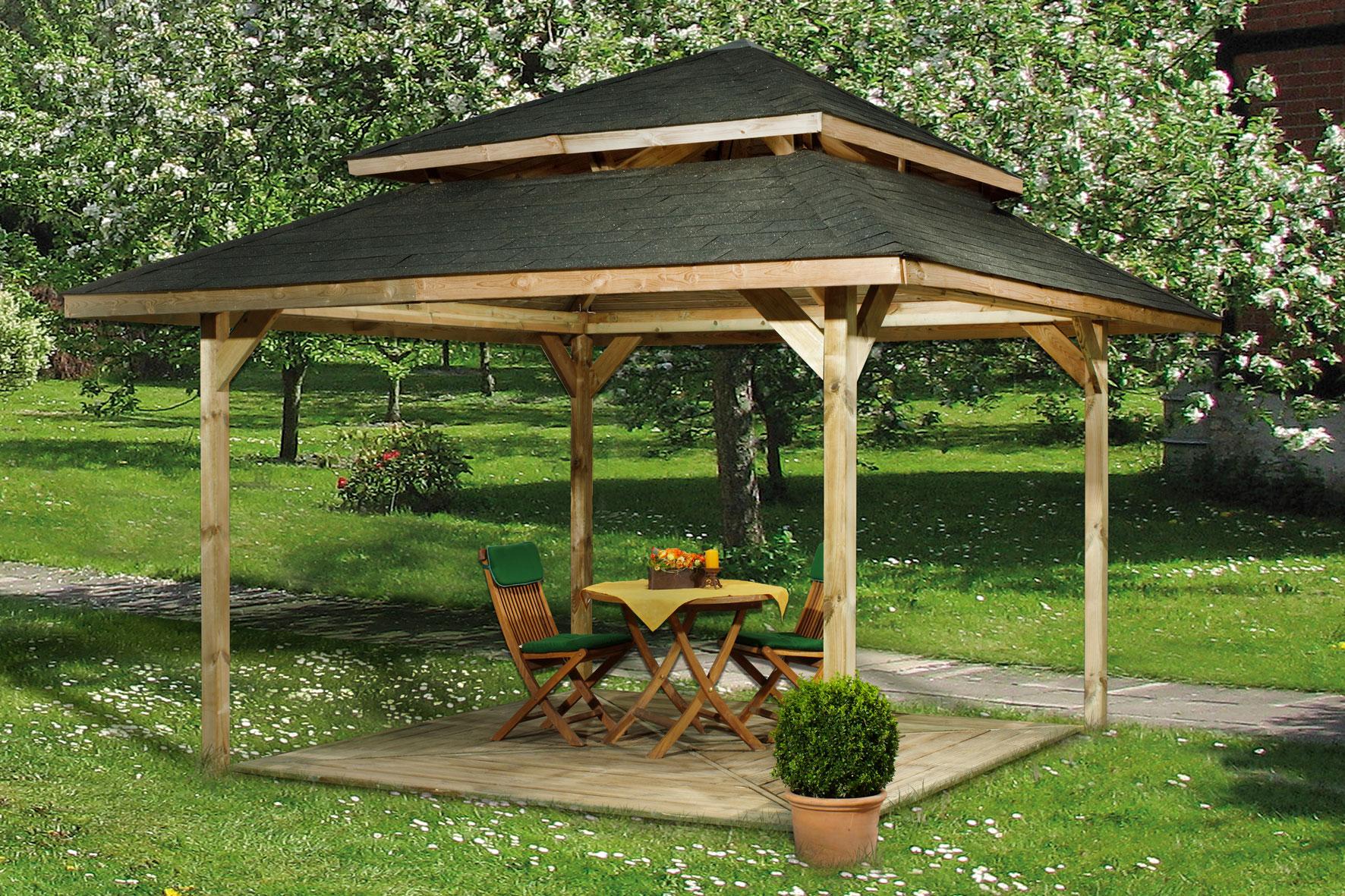 pavillon aus holz angebot karibu set perida inkl und with. Black Bedroom Furniture Sets. Home Design Ideas