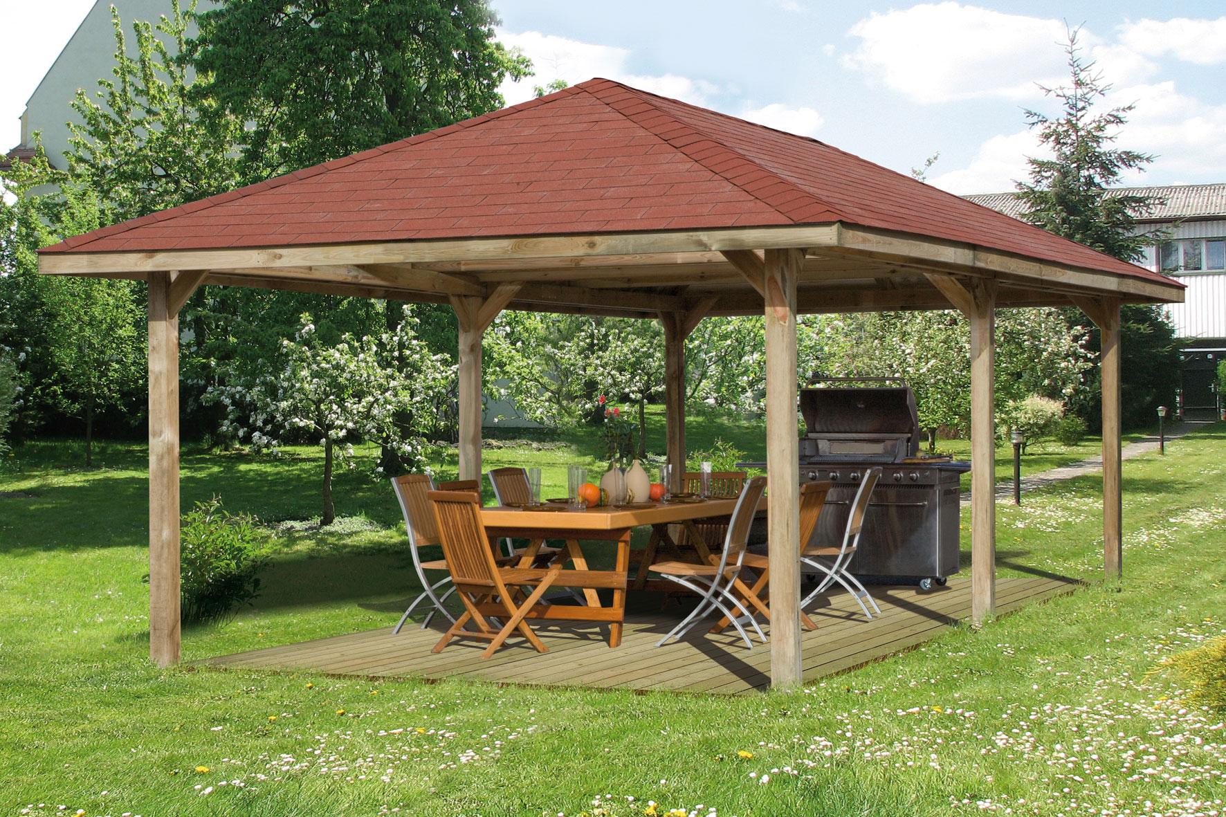 Weka Pavillon / Carport Gartenoase 651D Gr.3 kdi 778x433cm Bild 1