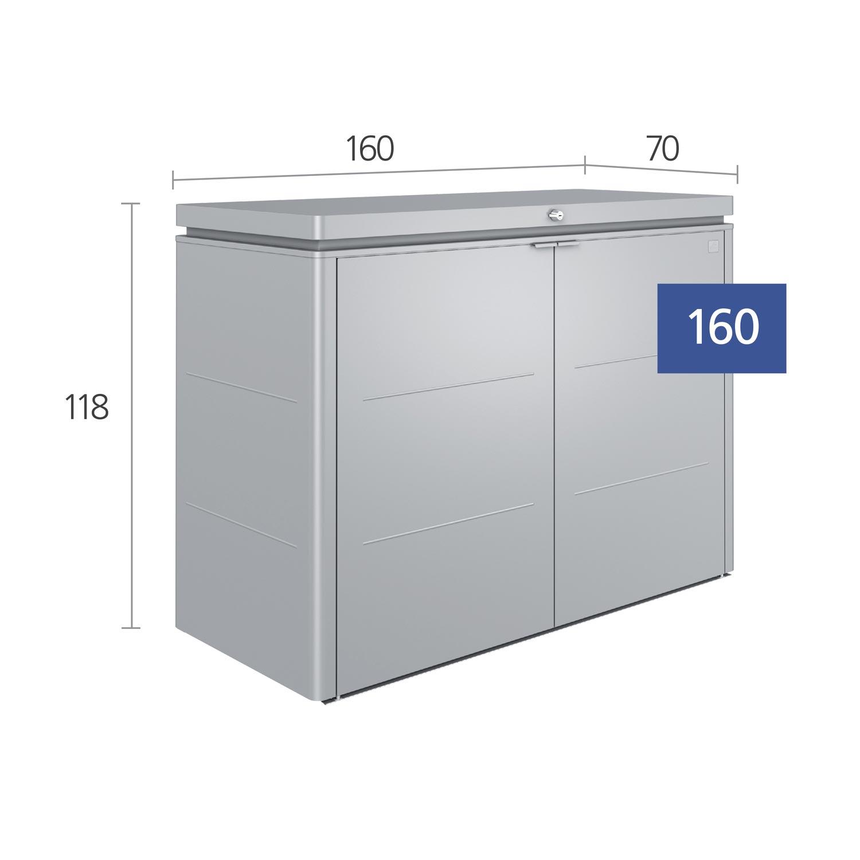 Gartenschrank biohort highboard 160 silber metallic - Kleiner gartenschrank ...