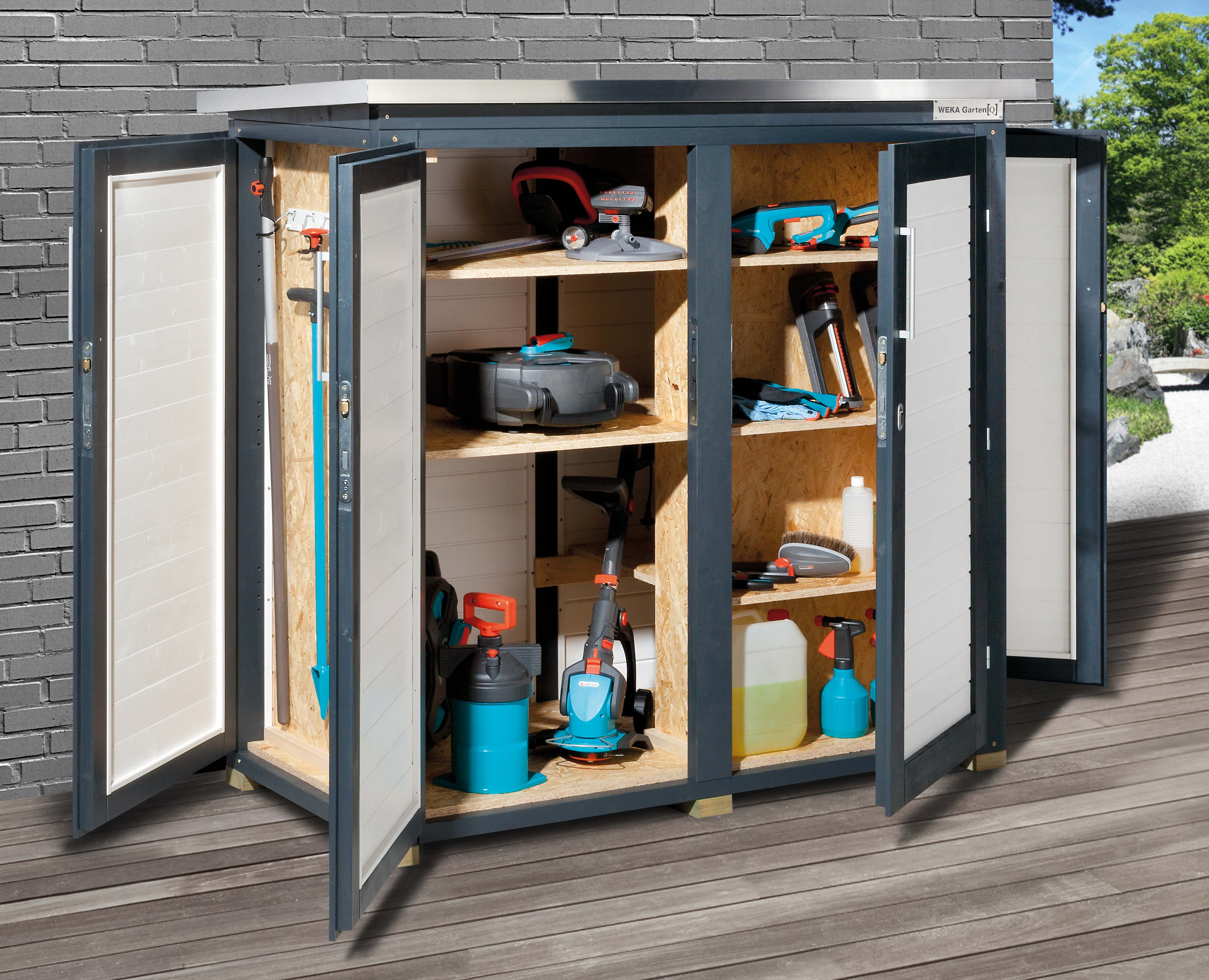 gartenschrank ger teschrank 18mm weka teras grau 160x75cm bei. Black Bedroom Furniture Sets. Home Design Ideas
