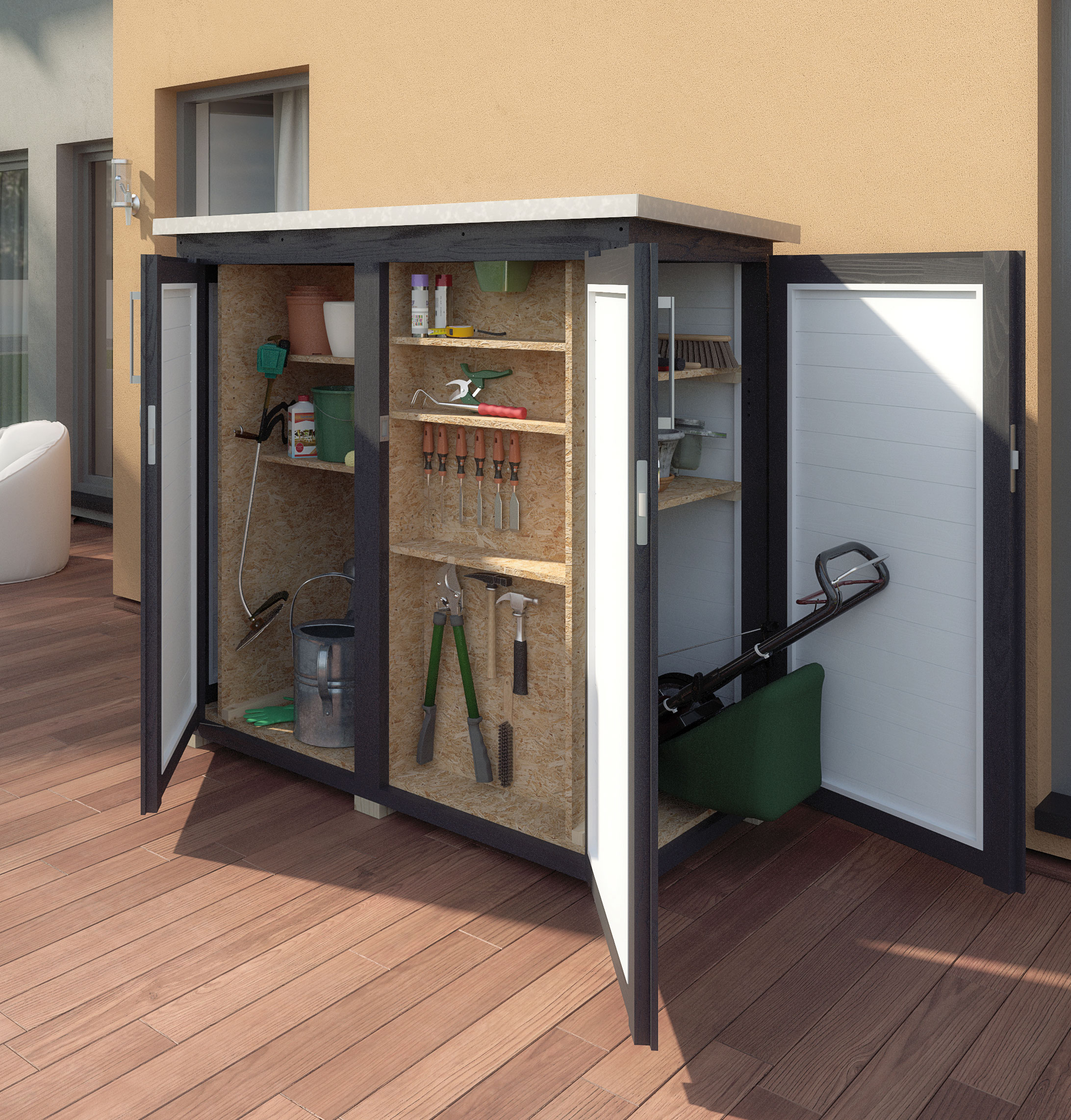 Gartenschrank ger teschrank 18mm weka teras anthrazit 160x75cm bei - Kleiner gartenschrank ...