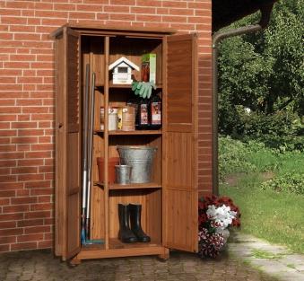 Gartenschrank Holz 15 mm Weka 195 A braun lasiert 88x50x180cm Bild 1