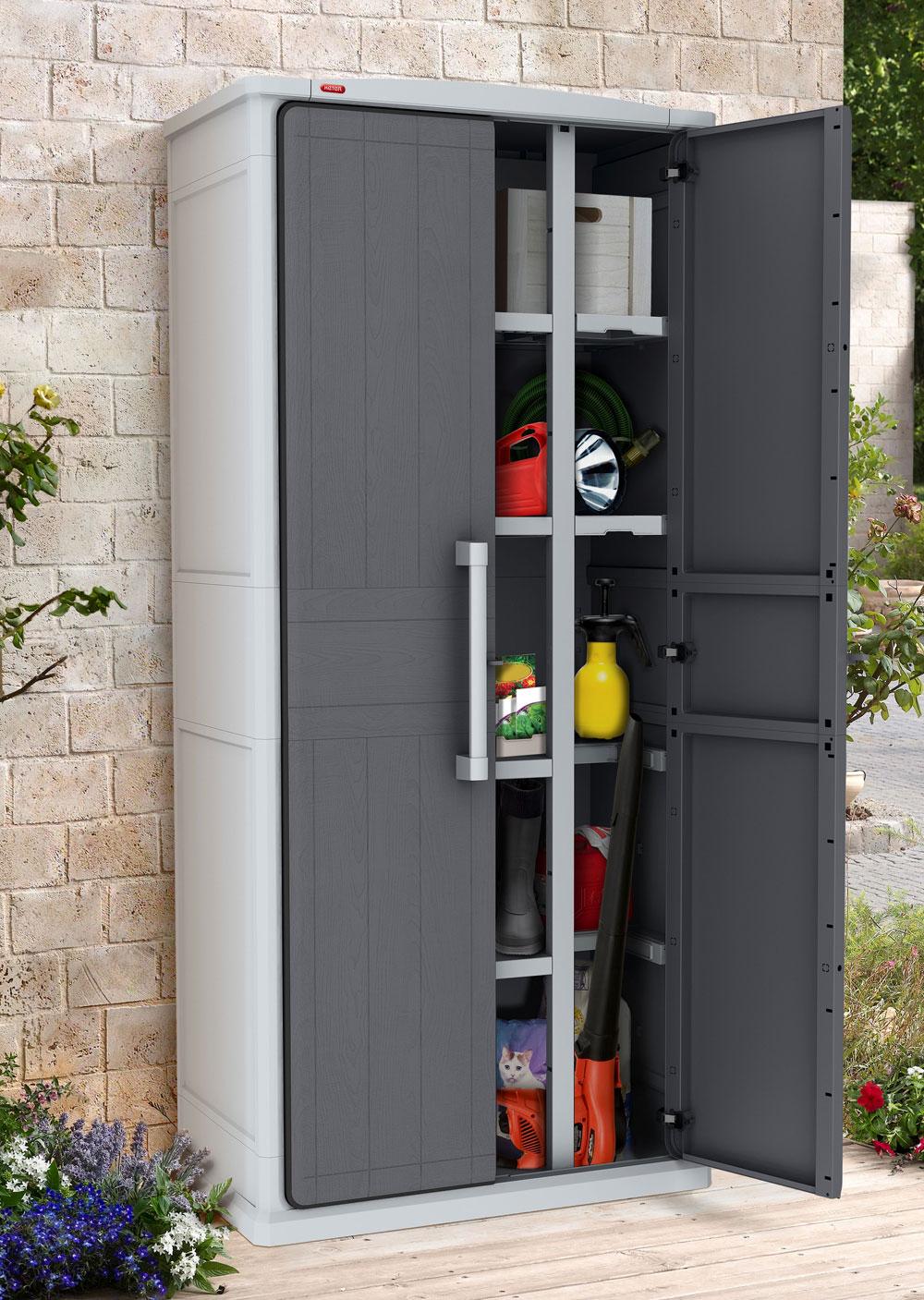 Gartenschrank keter optima wonder cabinet tall 80 5x47 3x177 8cm grau bei - Kleiner gartenschrank ...