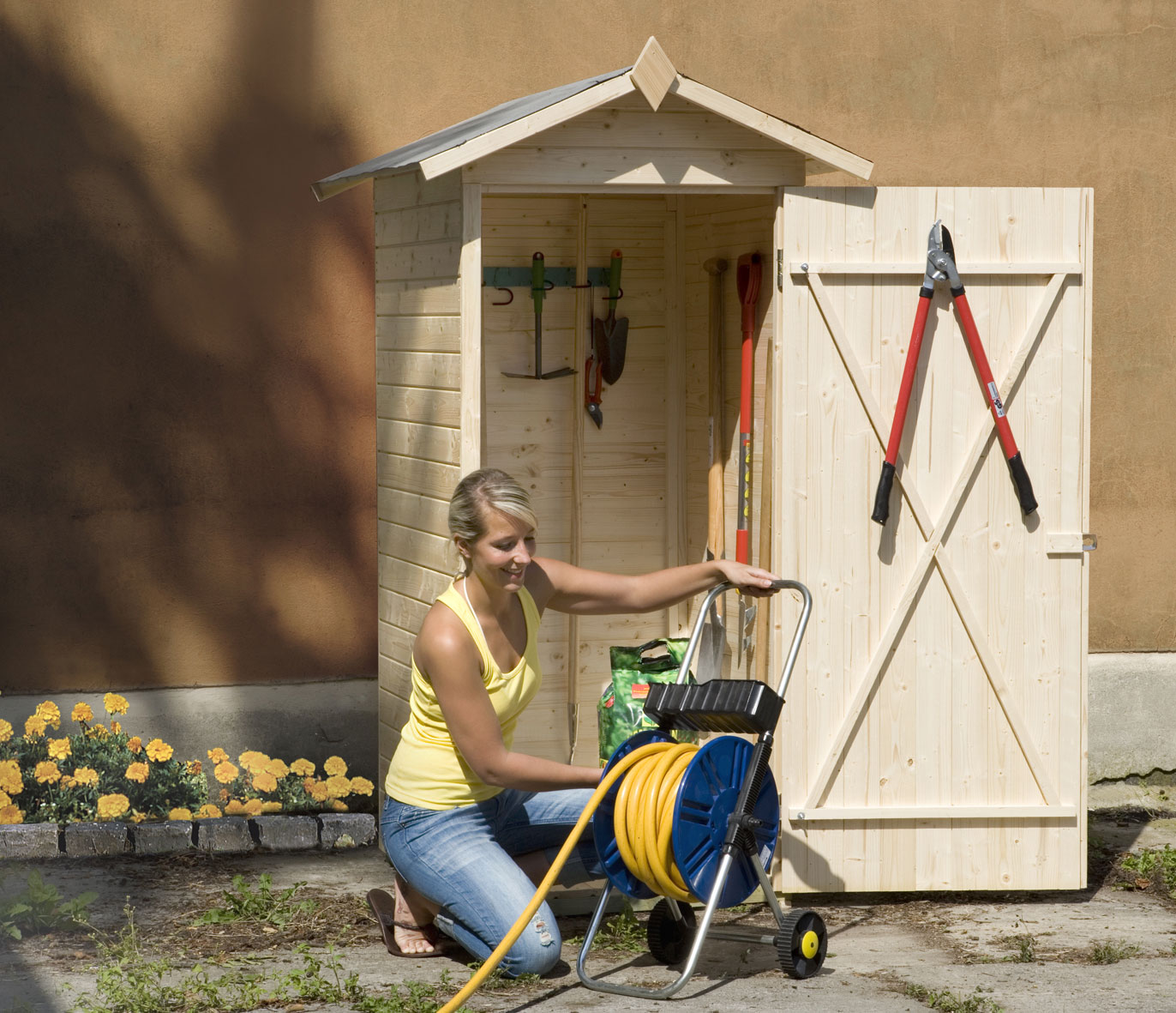 Weka Geräteschrank 14mm Gartenschrank 351 natur 90x90cm Bild 1