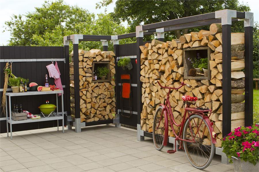 Brennholzregal selber bauen  Kaminholzregal Brennholzregal Cubic Plus 206x50x188cm natur kdi ...