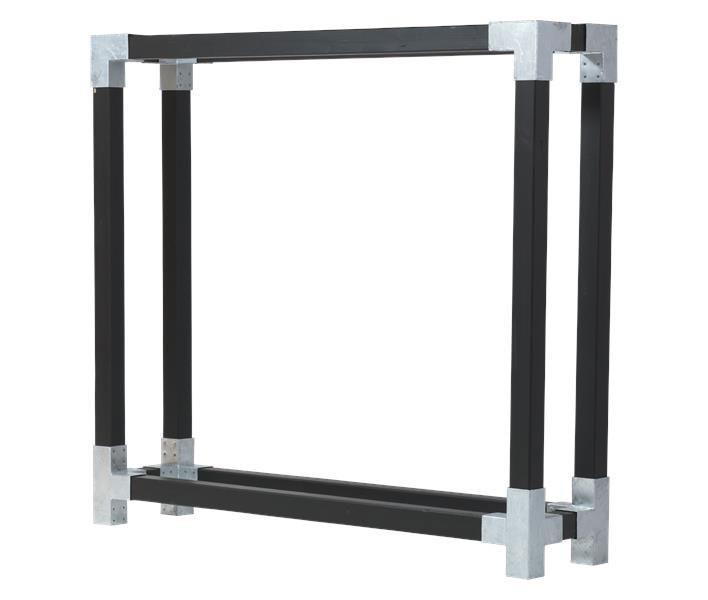 kaminholzregal brennholzregal cubic plus 206x50x188cm schwarz kdi bei. Black Bedroom Furniture Sets. Home Design Ideas