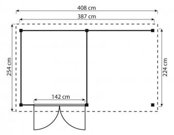 ediGarden Gartenschuppen 16 mm Größe 2 inkl. Anbau kdi 408x254cm Bild 2
