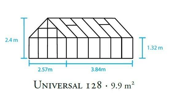 Unterschiedlich Juliana Gewächshaus Universal 128 / 9,9 m² Alu / 6mm  EG22