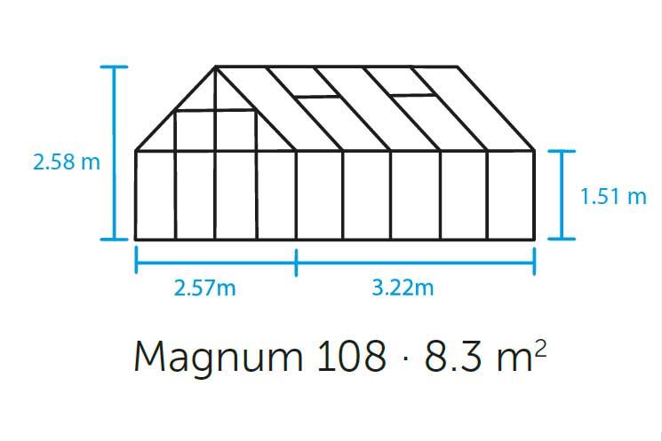 Gewächshaus Halls Magnum 108 8,3m² Alu grün 6mm Doppelstegplatten Bild 3