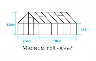 Gewächshaus Halls Magnum 128 9,9m² Alu 6mm Doppelstegplatten Bild 2
