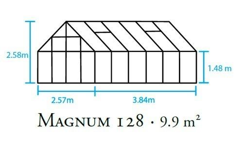 Gewächshaus Halls Magnum 128 9,9m² Alu grün 3mm Sicherheitsglas Bild 2
