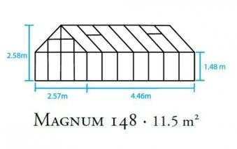 Gewächshaus Halls Magnum 148 11,5m² Alu 3mm Sicherheitsglas Bild 2