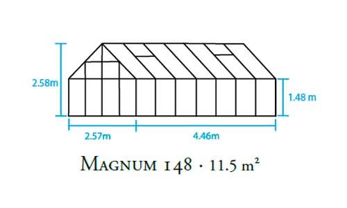 Gewächshaus Halls Magnum 148 11,5m² Alu grün 3mm Sicherheitsglas Bild 2