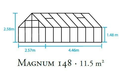 Gewächshaus Halls Magnum 148 11,5m² Alu grün 6mm Doppelstegplatten Bild 2