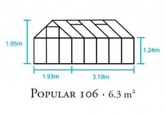 Gewächshaus Halls Popular 106 6,2m² Alu grün 4mm Doppelstegplatten Bild 2