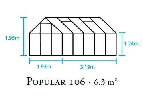 Gewächshaus Halls Popular 106 6,2m² Alu silber 3mm Blankglas Bild 2