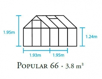 Gewächshaus Halls Popular 66 3,8m² Alu grün 4mm Doppelstegplatte Bild 2