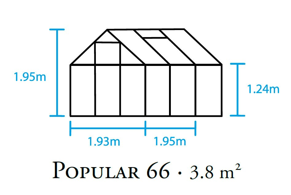 Gewächshaus Halls Popular 66 3,8m² Alu silber 4mm Doppelstegplatten Bild 2