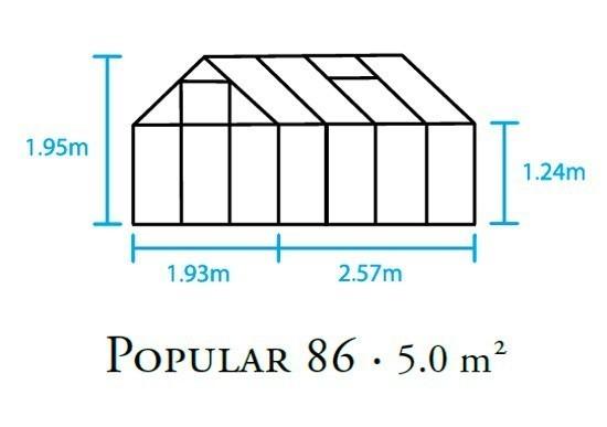Gewächshaus Halls Popular 86 5,0m² Alu grün 3mm Blankglas Bild 2