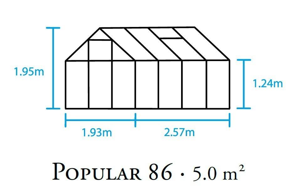 Gewächshaus Halls Popular 86 5,0m² Alu silber 4mm Doppelstegplatten Bild 2