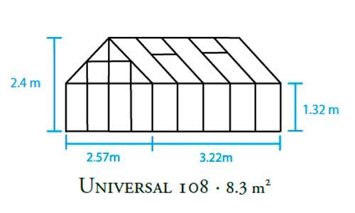 Gewächshaus Halls Universal 108 8,3m² Alu 3mm Blankglas Bild 2