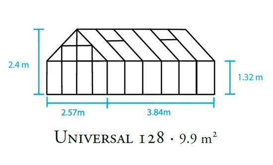 Gewächshaus Halls Universal 128 9,9m² Alu 3mm Blankglas Bild 2