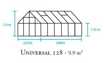 Gewächshaus Halls Universal 128 9,9m² Alu 6mm Doppelstegplatten Bild 2