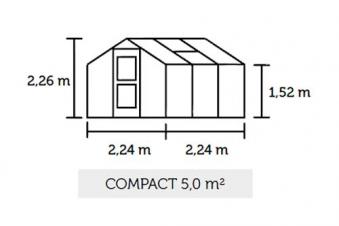 Gewächshaus Juliana Compact 5,0m² Alu silber 10mm Doppelstegplatten Bild 3