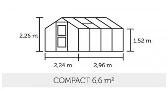 Gewächshaus Juliana Compact 6,6m² Alu anthrazit 3mm Sicherheitsglas Bild 2