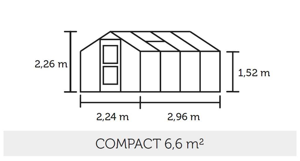 Gewächshaus Juliana Compact 6,6m² Alu silber 10mm Doppelstegplatten Bild 3