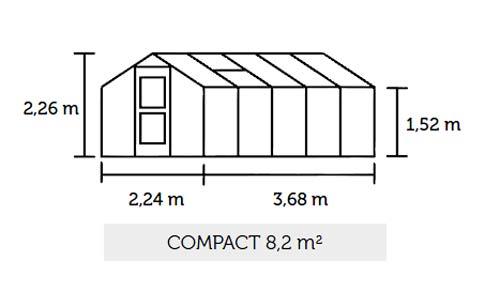 Gewächshaus Juliana Compact 8,2m² Alu anthrazit 10mm Doppelstegplatten Bild 2