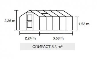 Gewächshaus Juliana Compact 8,2m² Alu silber 10mm Doppelstegplatten Bild 3