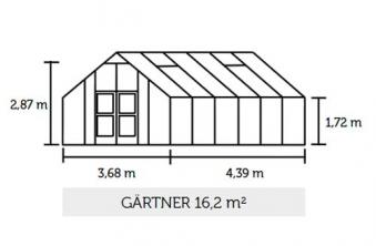 Gewächshaus Juliana Gärtner 16,2m² Alu anthrazit 10mm Doppelstegplatte Bild 2