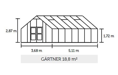 Gewächshaus Juliana Gärtner 18,8m² Alu anthrazit 3mm Sicherheitsglas Bild 2