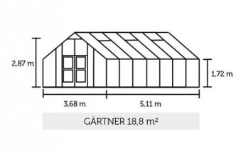 Gewächshaus Juliana Gärtner 18,8m² Alu silber 10mm Doppelstegplatten Bild 2