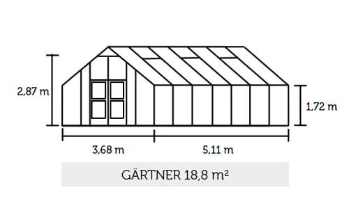 Gewächshaus Juliana Gärtner 18,8m² Alu silber 3mm Sicherheitsglas Bild 2