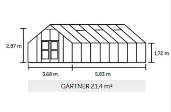 Gewächshaus Juliana Gärtner 21,4m² Alu anthrazit 3mm Sicherheitsglas Bild 2