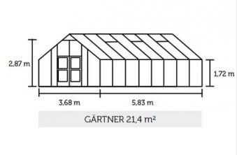 Gewächshaus Juliana Gärtner 21,4m² Alu silber 3mm Sicherheitsglas Bild 2