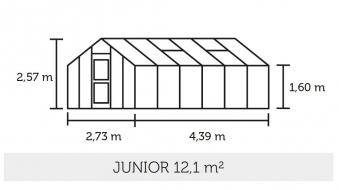 Gewächshaus Juliana Junior 12,1m² Alu anthrazit 6mm Doppelstegplatte Bild 3
